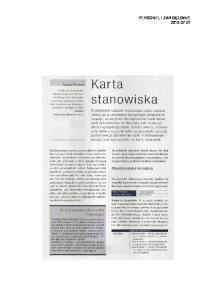 Karta stanowiska PERSONEL I ZARZ DZANIE Aneta Kopera