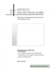 KATALOG DES ZENTRALLAGERS