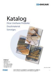 Katalog. Dicar Urethane Produkte Druckmaterial Sonstiges