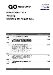 Katalog Dienstag, 18. August 2015