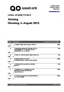 Katalog Dienstag, 4. August 2015
