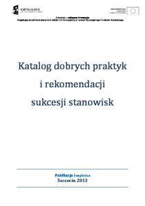 Katalog dobrych praktyk i rekomendacji sukcesji stanowisk