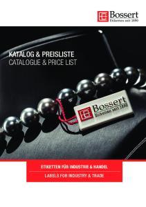 KATALOG & PREISLISTE CATALOGUE & PRICE LIST