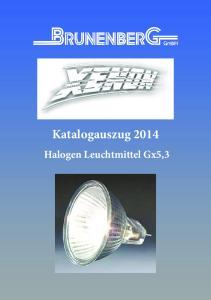 Katalogauszug Halogen Leuchtmittel Gx5,3
