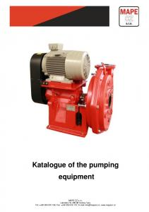 Katalogue of the pumping equipment