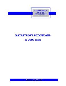 KATASTROFY BUDOWLANE w 2009 roku