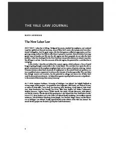 KATE ANDRIAS. The New Labor Law