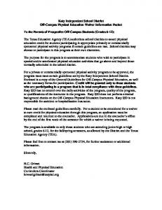 Katy Independent School District Off-Campus Physical Education Waiver Information Packet