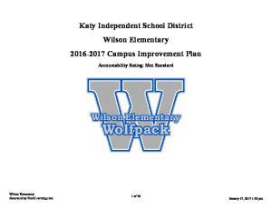 Katy Independent School District Wilson Elementary Campus Improvement Plan