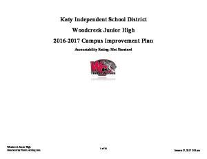 Katy Independent School District Woodcreek Junior High Campus Improvement Plan