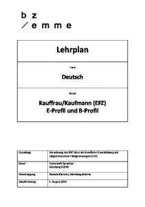 Kaufmann (EFZ) E Profil und B Profil