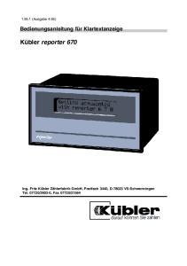 Kübler reporter 670. Bedienungsanleitung für Klartextanzeige (Ausgabe 4.95)