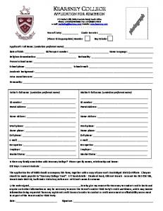 KEARSNEY COLLEGE APPLICATION FOR ADMISSION