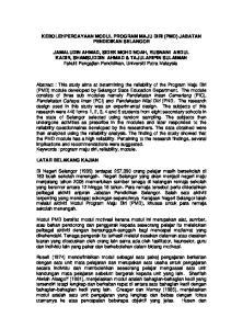 KEBOLEHPERCAYAAN MODUL PROGRAM MAJU DIRI (PMD) JABATAN PENDIDIKAN SELANGOR
