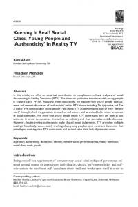 Keeping it Real? Social Class, Young People and Authenticity in Reality TV
