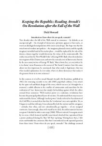 Keeping the Republic: Reading Arendt s On Revolution after the Fall of the Wall