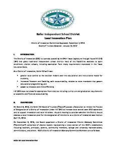 Keller Independent School District Local Innovation Plan