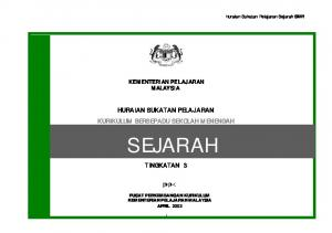 KEMENTERIAN PELAJARAN MALAYSIA HURAIAN SUKATAN PELAJARAN KURIKULUM BERSEPADU SEKOLAH MENENGAH SEJARAH TINGKATAN 3