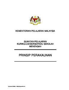 KEMENTERIAN PELAJARAN MALAYSIA SUKATAN PELAJARAN KURIKULUM BERSEPADU SEKOLAH MENENGAH PRINSIP PERAKAUNAN. Cg Narzuki Online