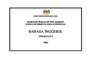 KEMENTERIAN PENDIDIKAN MALAYSIA HURAIAN SUKATAN PELAJARAN KURIKULUM BERSEPADU SEKOLAH MENENGAH
