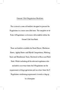 Kennel Club Regulation Booklets