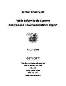 Kenton County, KY. Public Safety Radio Systems Analysis and Recommendations Report