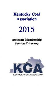 Kentucky Coal Association. Associate Membership Services Directory