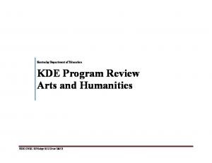 Kentucky Department of Education KDE Program Review Arts and Humanities