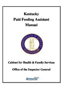 Kentucky Paid Feeding Assistant Manual
