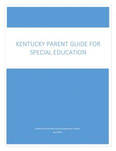 KENTUCKY PARENT GUIDE FOR SPECIAL EDUCATION