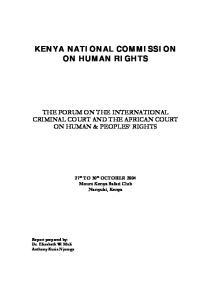 KENYA NATIONAL COMMISSION ON HUMAN RIGHTS