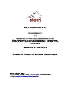 KENYA TOURISM BOARD (KTB) TENDER DOCUMENT FOR