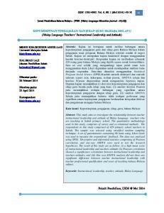 KEPEMIMPINAN PENGAJARAN DAN SIKAP GURU BAHASA MELAYU (Malay Language Teachers Instructional Leadership and Attitude)