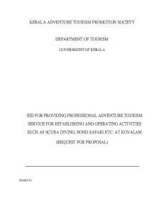 KERALA ADVENTURE TOURISM PROMOTION SOCIETY DEPARTMENT OF TOURISM