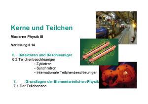 Kerne und Teilchen. Moderne Physik III. 7. Grundlagen der Elementarteilchen-Physik 7.1 Der Teilchenzoo. Vorlesung # 14