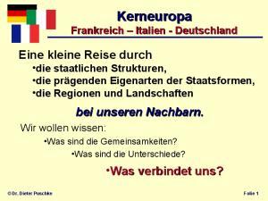 Kerneuropa Frankreich Italien - Deutschland