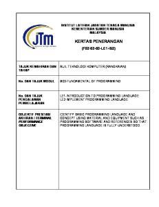 KERTAS PENERANGAN (F LE1-IS2) INSTITUT LATIHAN JABATAN TENAGA MANUSIA KEMENTERIAN SUMBER MANUSIA MALAYSIA TAJUK KEMAHIRAN DAN TAHAP