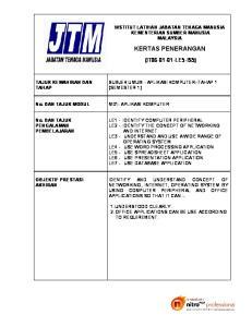 KERTAS PENERANGAN (IT LE5-IS5) INSTITUT LATIHAN JABATAN TENAGA MANUSIA KEMENTERIAN SUMBER MANUSIA MALAYSIA TAJUK KEMAHIRAN DAN TAHAP