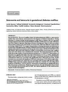 Ketonemia and ketonuria in gestational diabetes mellitus