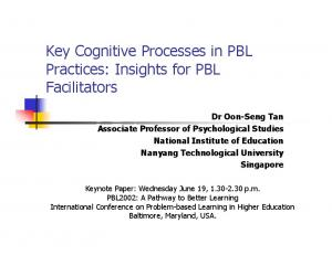 Key Cognitive Processes in PBL Practices: Insights for PBL Facilitators
