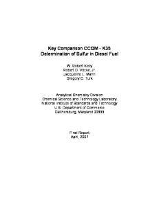 Key Comparison CCQM - K35 Determination of Sulfur in Diesel Fuel