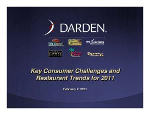 Key Consumer Challenges and Restaurant Trends for February 2, 2011