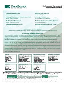 Key Information Memorandum & Common Application Form