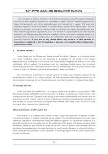 KEY JAPAN LEGAL AND REGULATORY MATTERS
