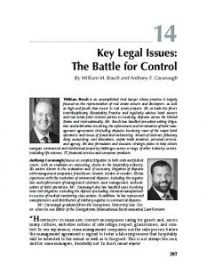 Key Legal Issues: The Battle for Control