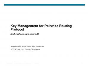 Key Management for Pairwise Routing Protocol