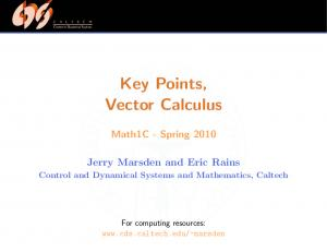 Key Points, Vector Calculus