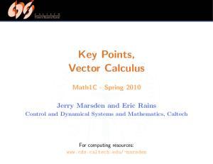 Key Points, Vector Calculus