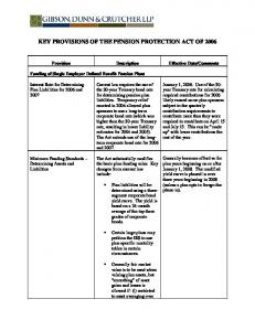 KEY PROVISIONS OF THE PENSION PROTECTION ACT OF 2006