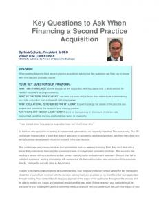 Key Questions to Ask When Financing a Second Practice Acquisition